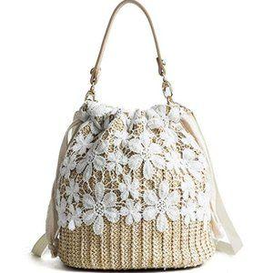 Anthropologie Bamboo Straw Lace Woven Handbag